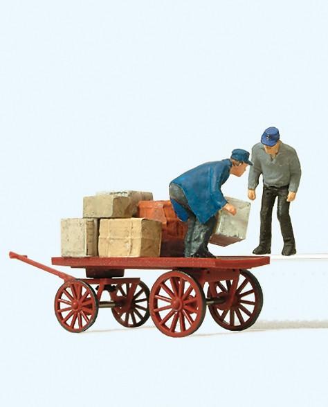 Preiser 28084 - H0 - Verladearbeiter mit Karre