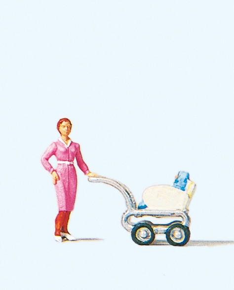 Preiser 28037 - H0 - Frau mit Kinderwagen
