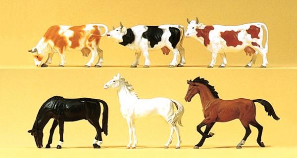 Preiser 75019 - TT - Pferde und Kühe