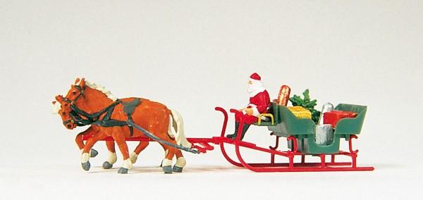 Preiser 30448 - H0 - Schlitten, Weihnachtsmann, Pakete, Pferdezug