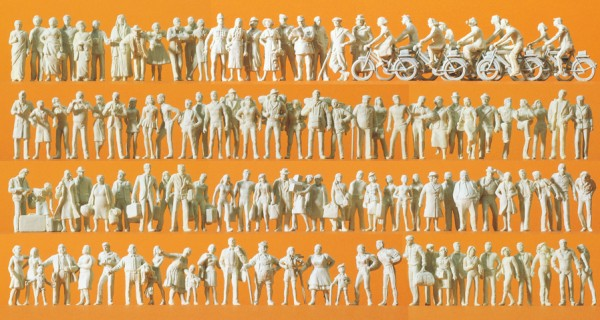 Preiser 16337 - H0 - Reisende und Passanten, 120 unbemalte Figuren