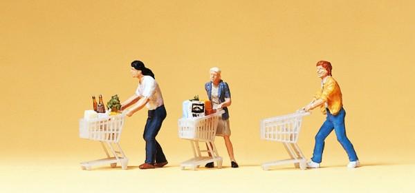 Preiser 10488 - H0 - Kunden mit Einkaufswagen