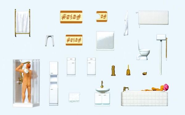 Preiser 10631 - H0 - Ehepaar im Bad, Badezimmereinrichtung