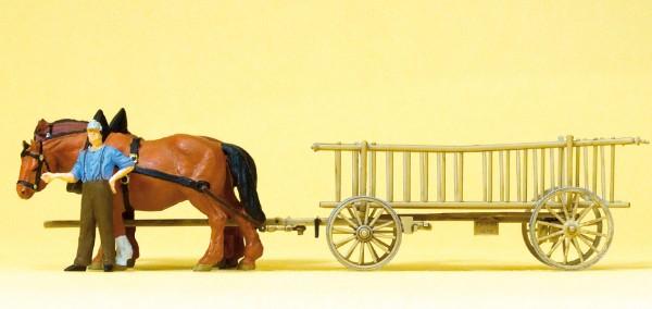Preiser 30416 - H0 - Leiterwagen, Bauer & 2 Pferde
