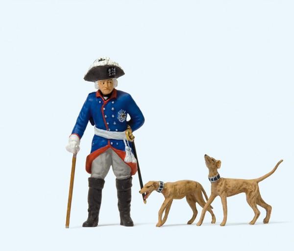 Preiser 54190 - 1:24 - Friedrich II. von Preußen, 2 Windspiele