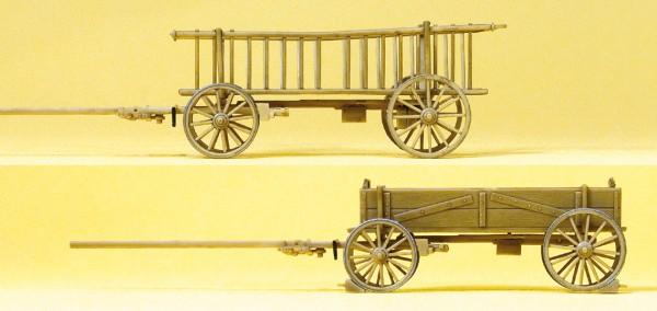 Preiser 30413 - H0 - Abgestellter Leiter- und Kastenwagen