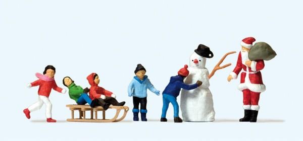 Preiser 10626 - H0 - Weihnachtsmann, Kinder, Schneemann