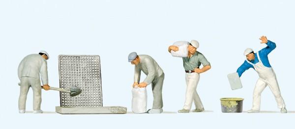 Preiser 10654 - H0 - Bauarbeiter beim Verputzen