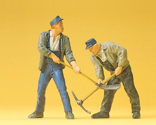 Preiser 45007 - G - Gleisbauarbeiter mit Pickel bzw. Gabel
