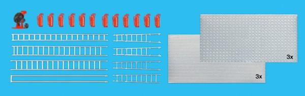 Preiser 31026 - H0 - Überdrucklüfter, Feuerlöscher, Leitern, Riffelblech