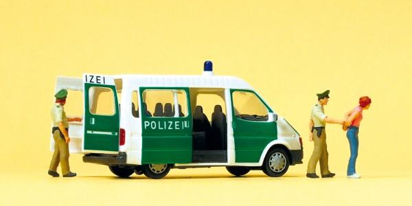 Preiser 33248 - H0 - Polizeifahrzeug mit geöffneten Türen