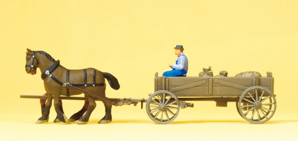 Preiser 30411 - H0 - Kastenwagen, Bauer, 2 Pferde & Ladung