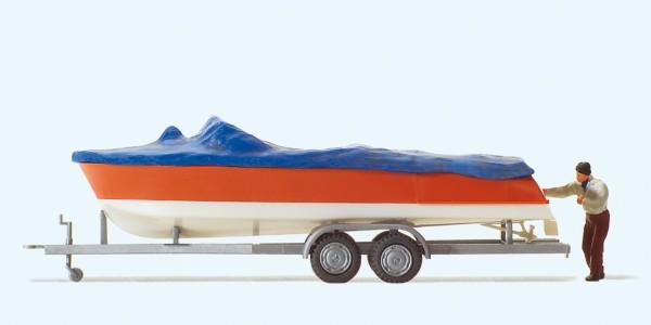 Preiser 33255 - H0 - Motorboot beim Verladen mit Anhänger