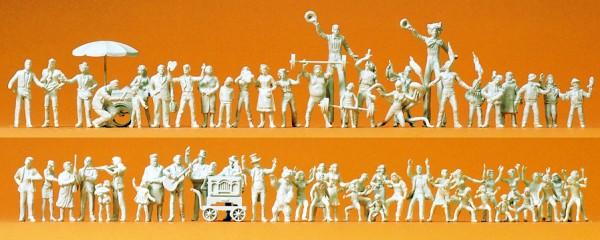 Preiser 16342 - H0 - Volksfestbesucher und Schausteller, 60 Figuren unbemalt