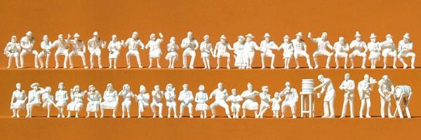 Preiser 16356 - H0 - Im Biergarten, 46 Figuren unbemalt