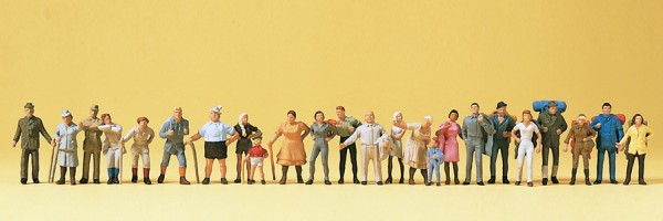 Preiser 14413 - H0 - Spaziergänger und Wanderer, 24 Figuren, handbemalt