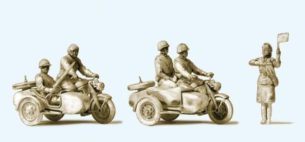Preiser 16614 - H0 - Kradfahrer. Motorrad Zündapp KS 750