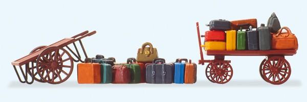 Preiser 17705 - H0 - 2 Wagen, Reisegepäck und 15 Gepäckstücke