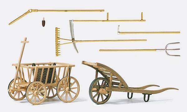 Preiser 45212 - G - Handwagen, Schubkarre und Werkzeuge