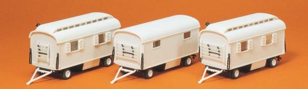 Preiser 20005 - H0 - Wohnwagen ohne Beschriftung, 3 Stk. Bausatz