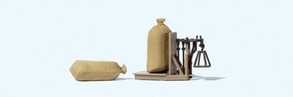 Preiser 17713 - H0 - Getreidewaage, 2 Säcke