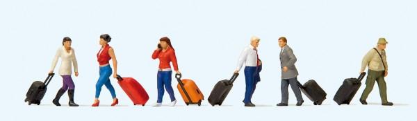 Preiser 10640 - H0 - Gehende Reisende mit Trolleys