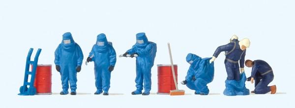 Preiser 10729 - H0 - Feuerwehrmänner, Blauer Vollschutzanzug