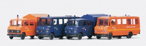 Preiser 31211 - H0 - Vier verschiedene THW-Fahrzeuge MB 508