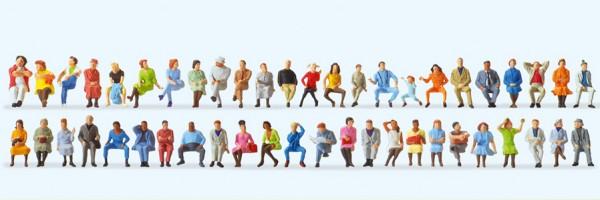 Preiser 14418 - H0 - Sitzende Reisende, 46 Figuren handbemalt