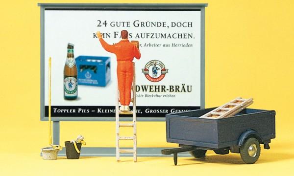 Preiser 10526 - H0 - Plakatkleber auf Leiter und Plakattafel