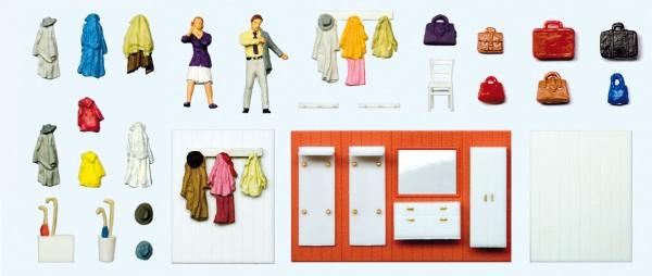 Preiser 10658 - H0 - Beim Anziehen, Garderobeneinrichtung