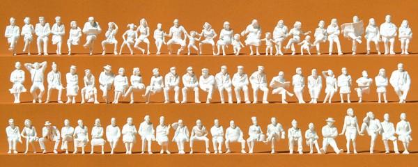 Preiser 16358 - H0 - Sitzende Reisende, 72 unbemalte Figuren