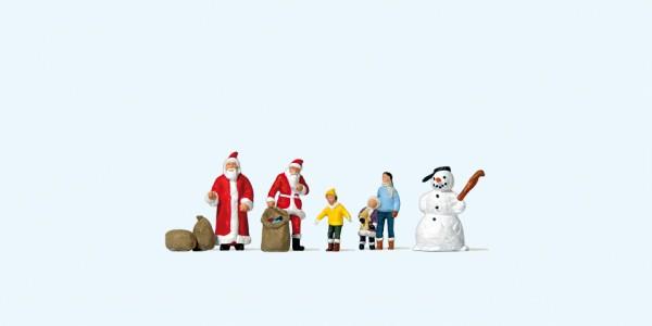 Preiser 79226 - Weihnachtsmänner, Kinder, Schneemann
