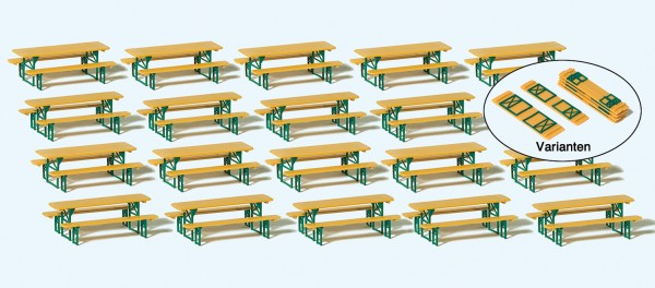 Preiser 24707 - H0 - 20 Biertischgarnituren