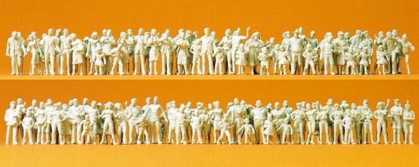 Preiser 16343 - H0 - Passanten und Zuschauer, 130 unbemalte Figuren