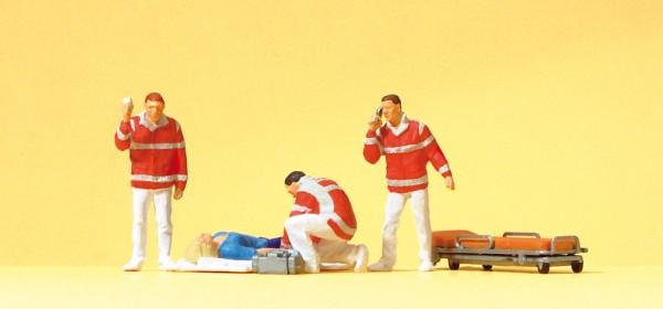Preiser 10543 - H0 - Sanitäter, Verletzte auf Decke