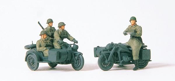 Preiser 16575 - H0 - Kradschützen aufgesessen, Motorrad Zündapp