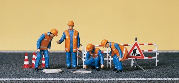 Preiser 10445 - H0 - Kanalarbeiter, Absperrung und Kanaldeckel