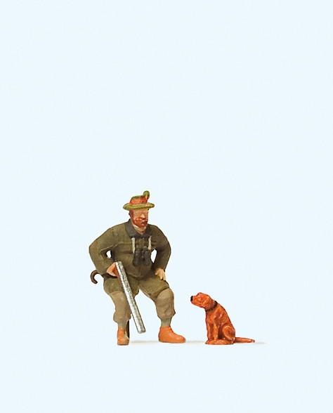 Preiser 28129 - H0 - Sitzender Jäger mit Hund