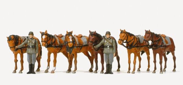 Preiser 16597 - H0 - Stehende Zugpferde und Pferdehalter