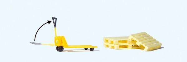 Preiser 17712 - H0 - Hubwagen, 3 Europaletten