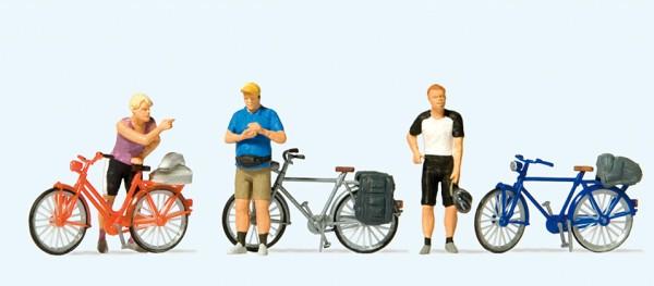 Preiser 10644 - H0 - Stehende Fahrradfahrer in sportlicher Kleidung (2)