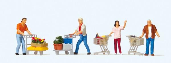 Preiser 10722 - H0 - Kunden mit Einkaufswagen
