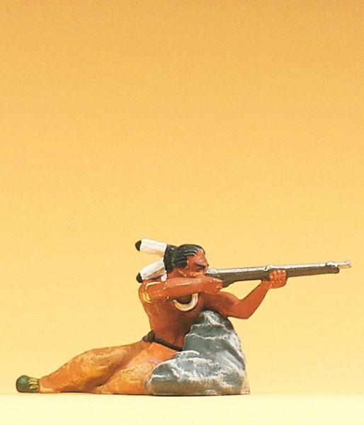 Preiser 54617 - 1:25 - Indianer am Fels liegend mit Gewehr