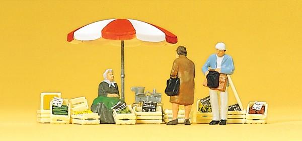 Preiser 10337 - Sitzende Marktfrau, Kunde und Zubehör