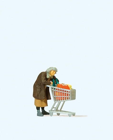 Preiser 29095 - H0 - Obdachloser mit Einkaufswagen