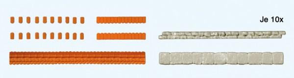 Preiser 18218 - H0 - Mauerabdeckung Dachziegeln & Natutsteinplatten