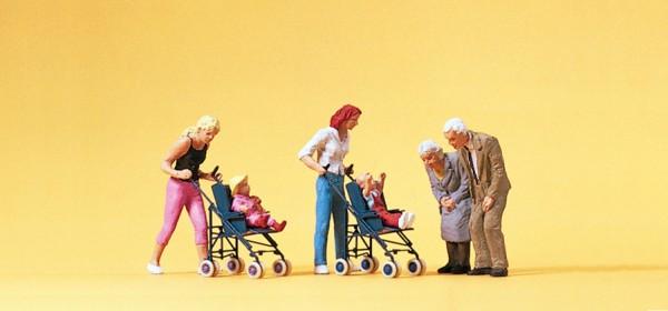 Preiser 10493 - Mütter und Kinder im Kinderwagen