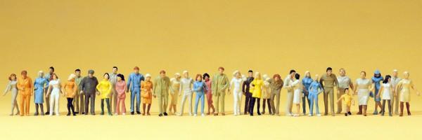 Preiser 14402 - H0 - Stehende und gehende Passanten, 36 Figuren handbemalt
