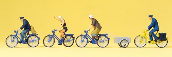 Preiser 10507 - H0 - Radfahrer, Fahrradanhänger